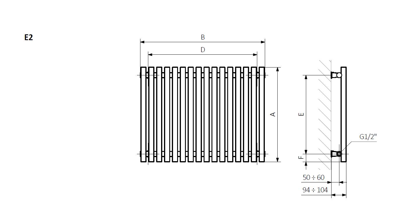 A-высота B-ширина D-расстояние крепления по горизонтали E-расстояние крепления по вертикали F-расстояние от нижней оси крепления до нижнего края коллектора