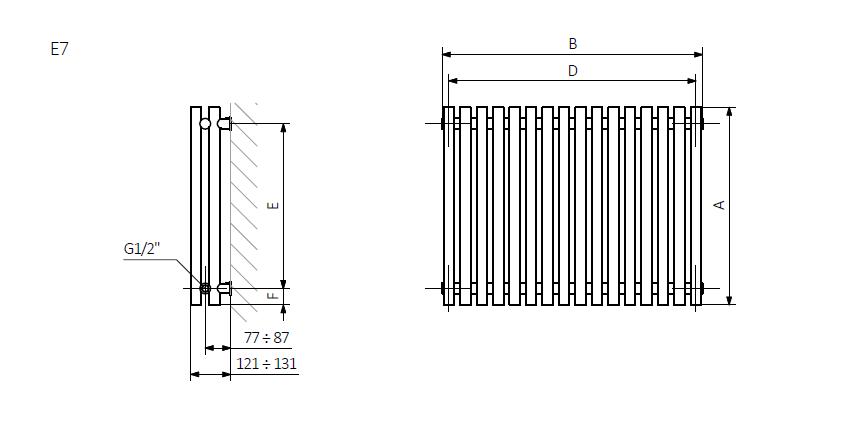 А – высота B – ширина C1-C5 – расстояние между подключения D – расстояние между креплениями по горизонтали E – расстояние между креплениями по вертикали F – расстояние от нижней оси крепления до нижней кромки коллектора