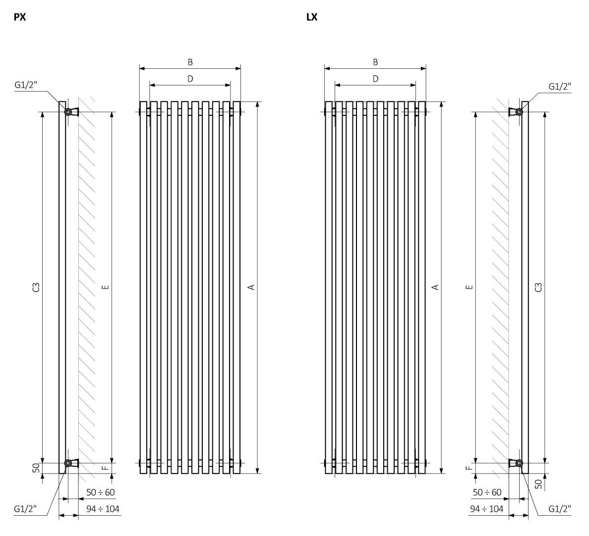 A – высота, B – ширина, C1-C5 – расстояние между осями подключения,  D – расстояние между осями крепежей по горизонтали, E – расстояние между осями крепежей по вертикали, F – расстояние от оси нижнего крепежа до нижнего края коллектора.