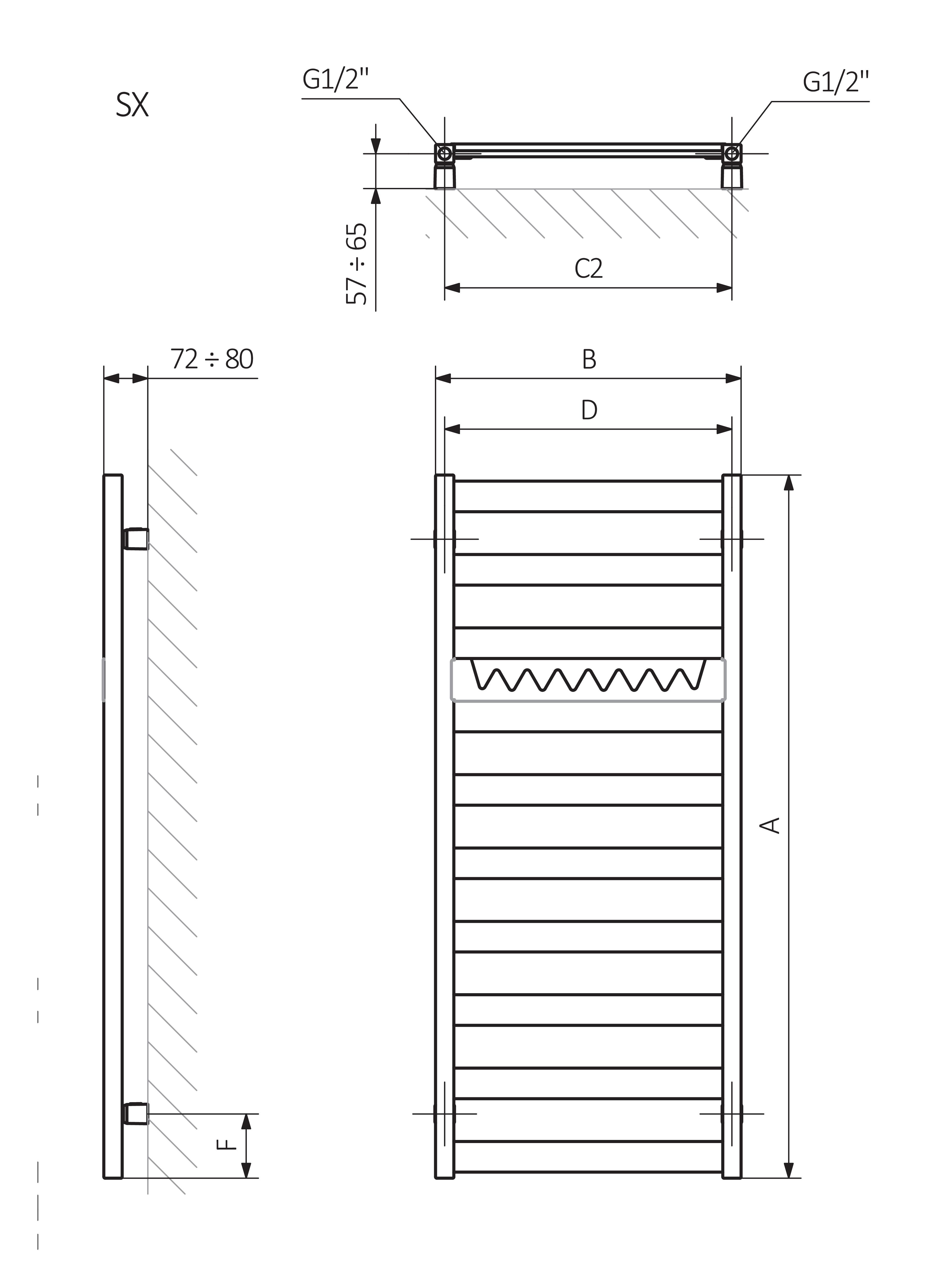 A - высота B - ширина C1-C5 - расстояние между стыками D - расстояние между анкерами в горизонтальном E - расстояние между опорами в вертикальном F - расстояние от нижней оси точек крепления до нижнего края коллектора